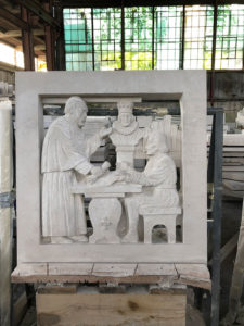 First Stone Carving at Fordham University